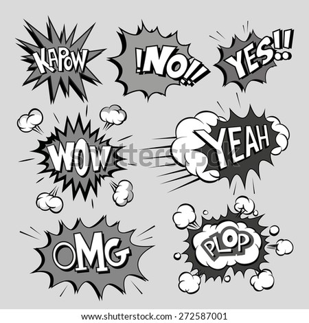Set of comics boom, vector illustration - stock vector