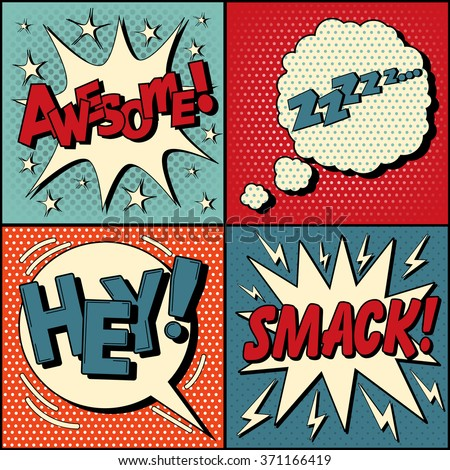 Set of Comics Bubbles in Pop Art Style. Expressions Awesome, Hey, Smack, Zzz. Vector illustration in vintage style - stock vector