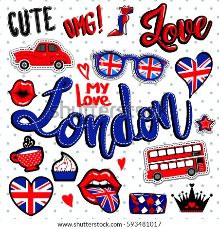 Set Of Comics Patch Badge Elements London Wallpaper With Heart Glasses Great Britain