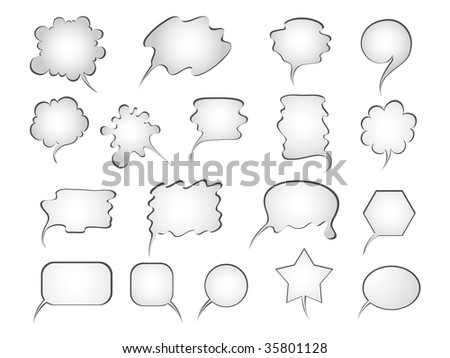Set of comics word and thought bubbles. Vector illustration.