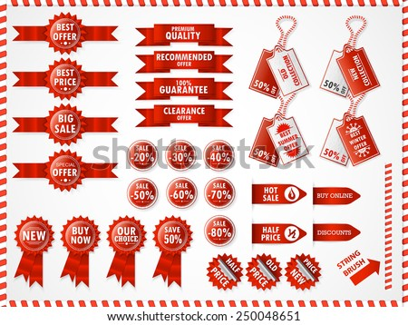 Set of commercial sale stickers, elements, badges and labels. Red. - stock vector