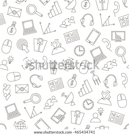 Set of Communication&business pattern black icons