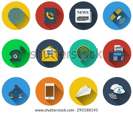 Set of communication icons in flat design. EPS 10 vector illustration with transparency. - stock vector