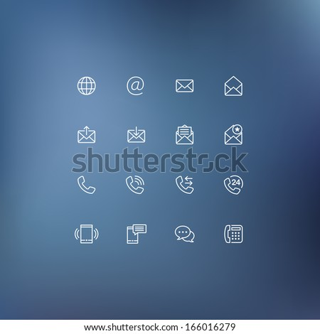 Set of communication icons. Phone call, email and chat icons. - stock vector