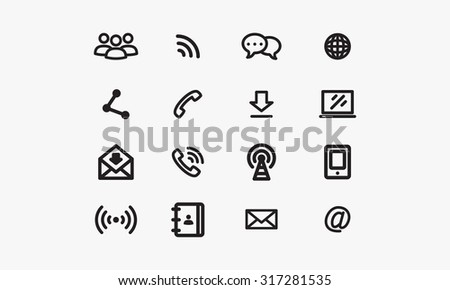 Set of communications icons - stock vector