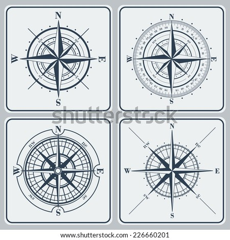 Set of compass roses (windroses) . Vector illustration. - stock vector