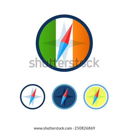 Set of Compasses isolated on white background, Vector Illustration - stock vector