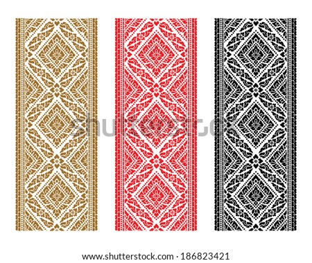 Set of complementary line Thai art illustration. - stock vector