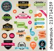 Set of composed of a lot of colorful vector Commercial Labels and Ribbon templates and web elements. Vector file is organized in layers to separate Graphic elements from Text and Shadows. - stock
