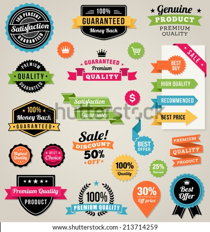 Set of composed of a lot of colorful vector Commercial Labels and Ribbon templates and web elements. Vector file is organized in layers to separate Graphic elements from Text and Shadows. - stock vector