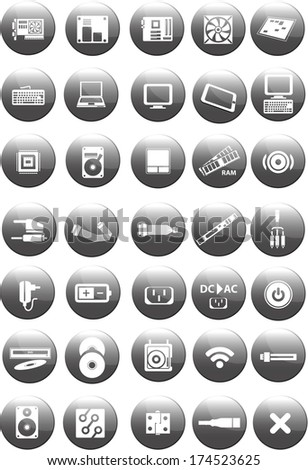 Set of computer and accessories icon isolated on white background - stock vector