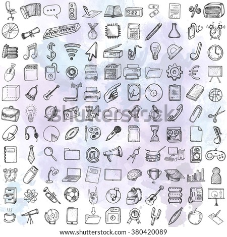 Set of computer, business and school icons. Hand drawn collection. - stock vector