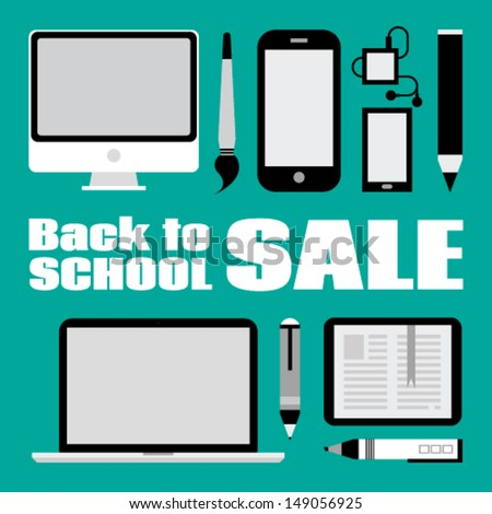 Set of computer devices. Back to school sale - stock vector
