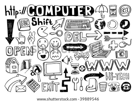 Set of computer doodles, 55 elements. - stock vector