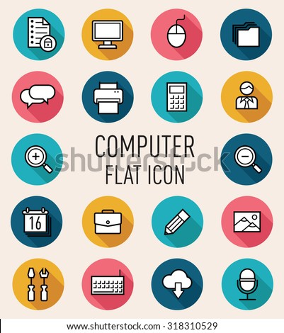 set of computer flat icon isolated on peach background  - stock vector