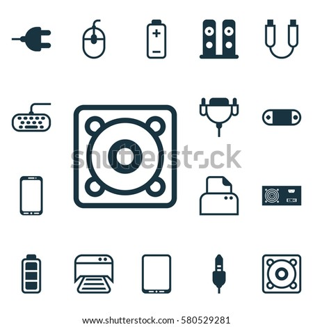 Set Of 16 Computer Hardware Icons. Includes Cellphone, Loudspeakers, Music And Other Symbols. Beautiful Design Elements.