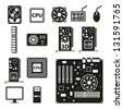 Set of computer hardware icons. Vector illustration. - stock vector