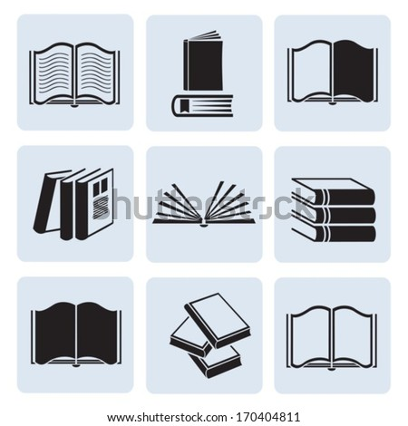 Set of computer icons books. Vector. EPS-10 (non transparent elements,non gradient) - stock vector