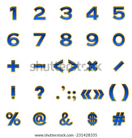 Set of computer icons, numbers, mathematical and punctuation signs, stylized glass blue buttons with golden frames, elements for web design. Eps10, contains transparencies. Vector - stock vector