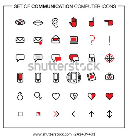 Set of computer icons with media and communication symbols. Can be used forOnline Dating - stock vector