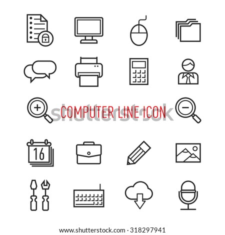 set of computer line icon isolated on white  background - stock vector