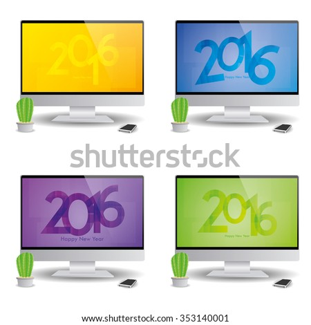 Set of computer screens with new year screensavers