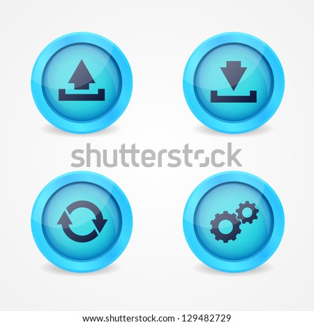 Set of computer signs glossy vector icons - stock vector
