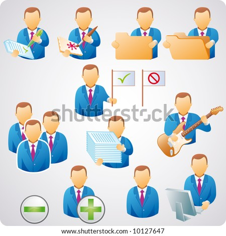 set of computer users, good for web-design, business concepts and computer icons - stock vector