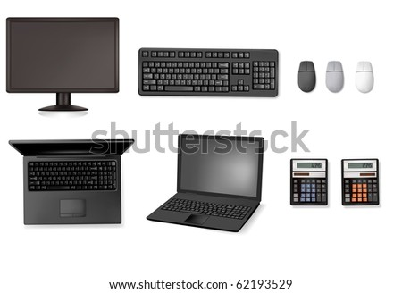 Set of computers and electronics. Vector. - stock vector