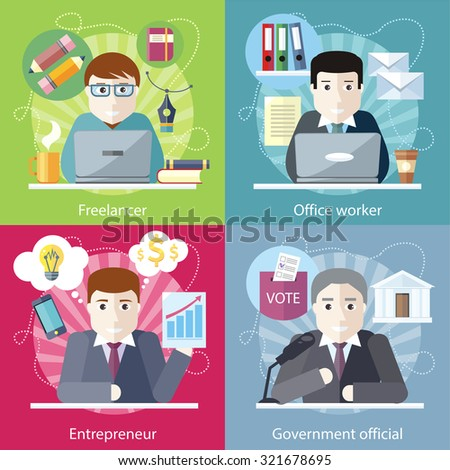 Set of concept work employed freelancer. Government official, office worker, employment and entrepreneur, business job, career and entrepreneurship, workspace in flat design - stock vector