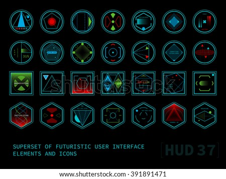 Stock Vector Set Of Conceptual Futuristic Display Interface Hud Elements Round Square And Hexagonal Shaped