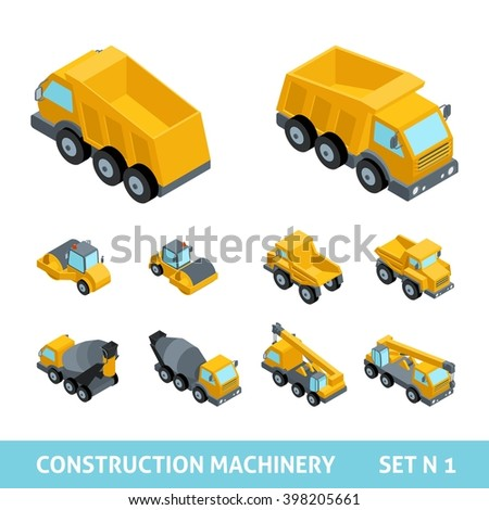Set of construction equipment, isometric style. Tipper truck, paver, tractor, harvester, machine, flat style, 3D. Vector illustration - stock vector