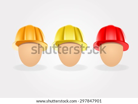 set of construction helmets isolated on white background