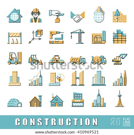Set of construction icons.  Collection of flat line vector icons presenting various stages of building process. Civil engineering. Work on construction site.  - stock vector