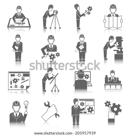 Set of construction industry engineer worker icons in gray color with reflection vector illustration - stock vector