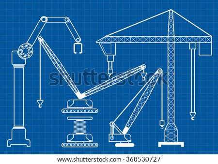 Set construction machine crane blueprint outline stock photo photo set of construction machine crane blueprint outline vector illustration malvernweather Image collections
