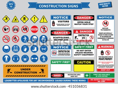 Set of Construction sign (warning, site safety, use hard hat,children must not play on this site, no admittance to unauthorized personnel, safety hard helmet, boots and vest must be worn at all times) - stock vector