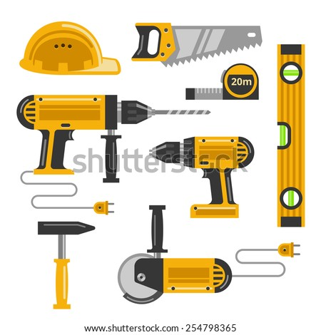 Set of construction tools flat icons. Saw, helmet, drill, screw gun and hammer and hacksaw. Vector illustration - stock vector