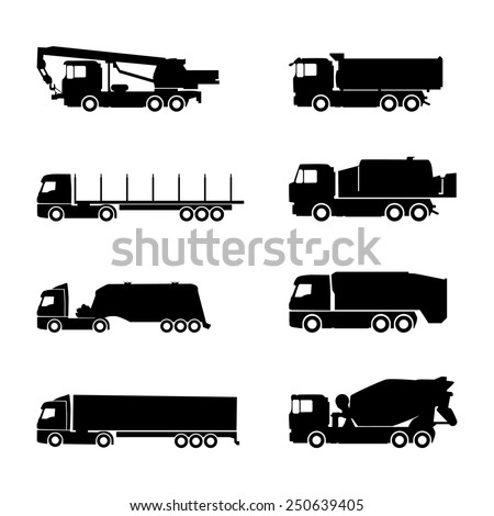Set of construction trucks and vehicles. Machine construction equipment icons. Truck, crane, truck, concrete mixer, tanker. - stock vector