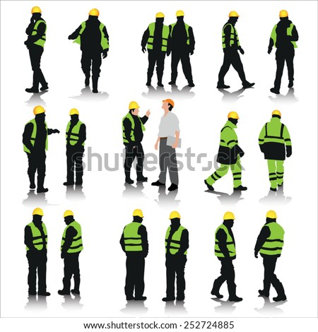 Set of construction workers silhouettes isolated on white. Vector illustration - stock vector