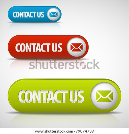 set of contact us buttons - red, green and blue - stock vector