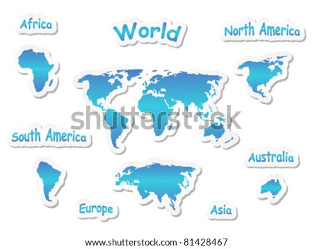 Set of continent icons - stock vector