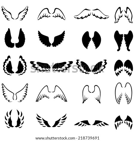Set of contour and silhouette different wings  - stock vector