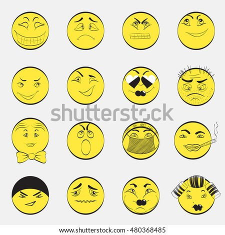 Set of Contour Emoticons with Different Character Filled with Yellow Color.  Isolated vector EPS 10