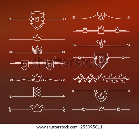 Set of contour, empty, flat crown headers. Isolated, editable.  - stock vector