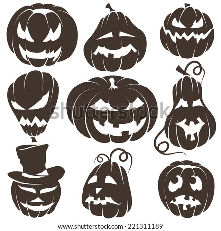 Set of Contours Halloween Pumpkins - stock vector