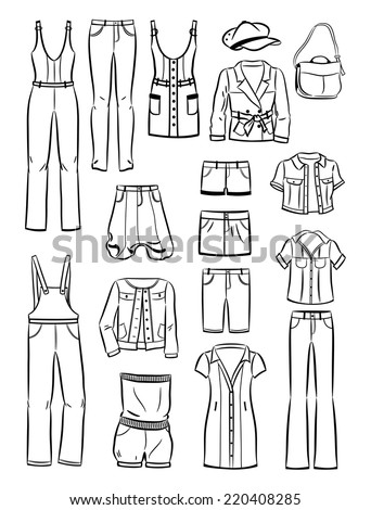 Set of contours of women's casual clothing isolated on white background - stock vector