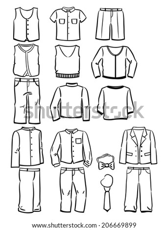 Set of contours school clothes for boys isolated on white background - stock vector