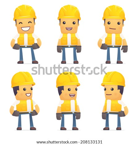 set of contractor character in different interactive  poses - stock vector