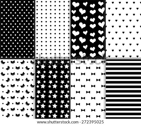Set of cool abstract seamless big and small polka dot, lined texture, stars, hearts, bow, ribbon and stripes pattern in black and white color. Vector art image illustration background, simple design - stock vector